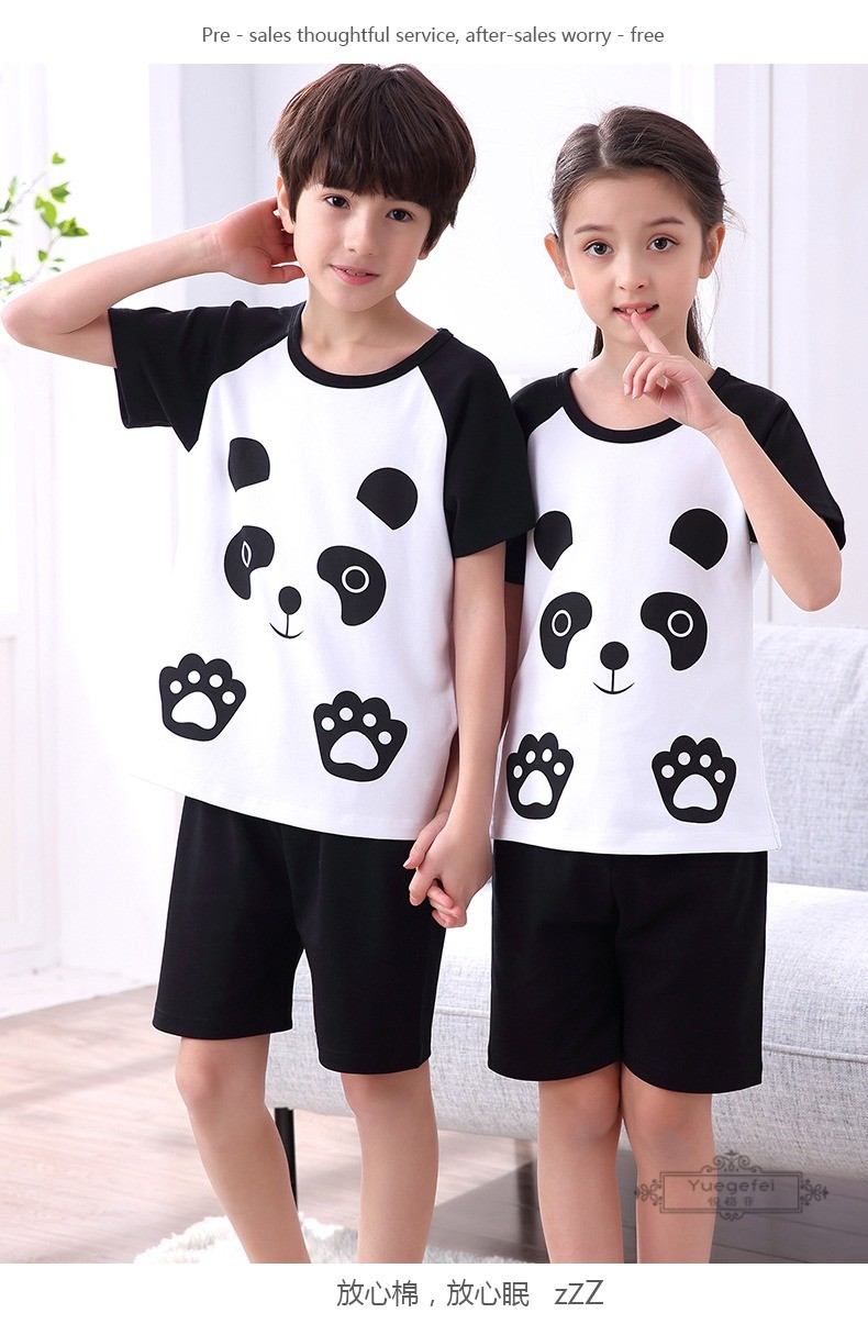 Đồ ngủ trẻ em Yuefei children's pajamas pure cotton short sleeves Summer Boys and girls in children