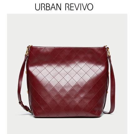 Túi xách nữ thời trang  UR URBAN REVIVO2019 phụ kiện mới của phụ nữ túi đeo vai hình thoi tối màu AE