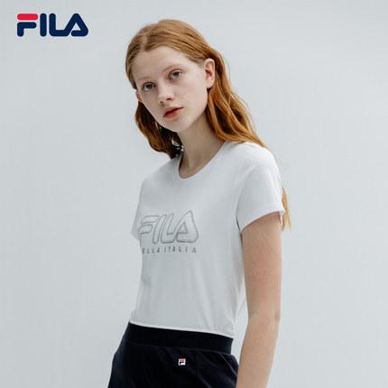 Áo thun FILA Áo thun ngắn tay của phụ nữ Fila Fila chính thức 2019 Mùa hè mới giản dị thể thao dệt k