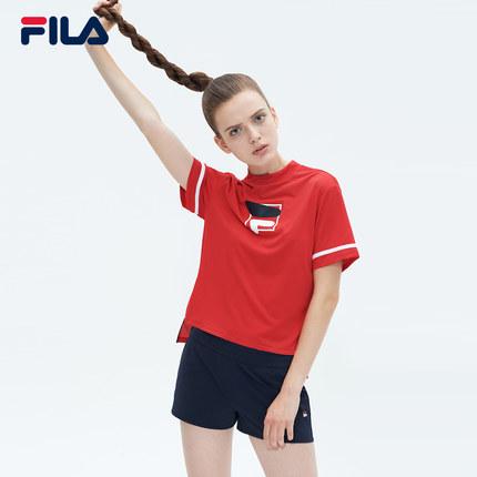 Áo thun FILA FILA Fila Official Women Tay áo ngắn T 2019 Mùa hè Mới Thể thao Đàn hồi Áo tay ngắn Áo