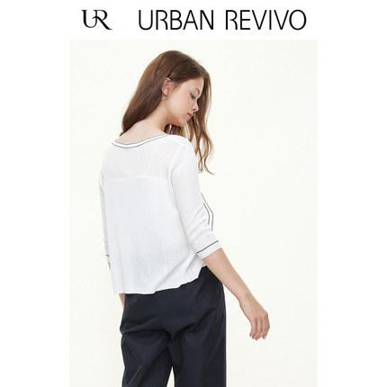 Áo khoác lửng UR2019 mùa thu mới giới trẻ phụ nữ nấu chín nhẹ dòng áo len cổ chữ V YB33B9DF2000