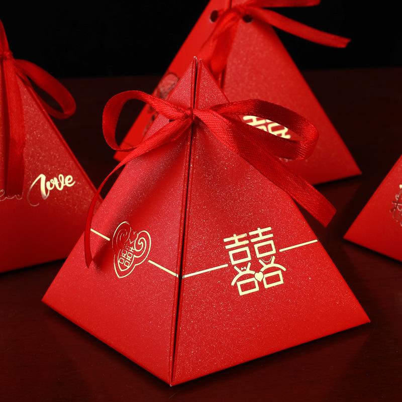 LINXUANGE hộp quà tiệc cưới Magpie Wedding cưới hộp kẹo đám cưới cung cấp hộp kẹo tam giác mới phong