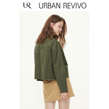 Áo khoác lửng UR2019 mùa thu mới của giới trẻ phụ nữ giản dị nút màu đơn giản ve áo khoác ngắn YV34S