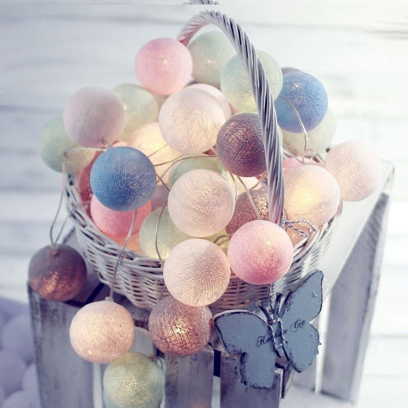 XINGUANG Đèn trang trì Thái bông bóng đèn lồng hộp pin chuỗi ánh sáng LED Giáng sinh trang trí ngày