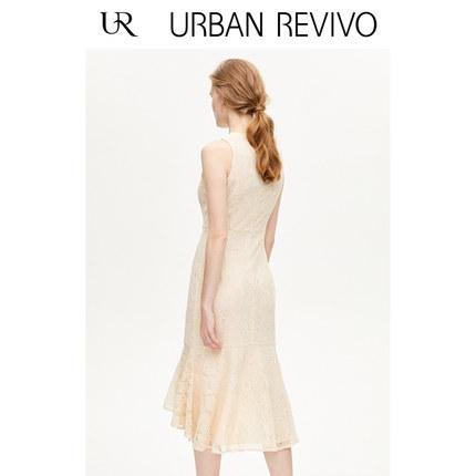 Đầm UR2019 mùa thu mới của phụ nữ quyến rũ ren móc váy hoa không tay WP32S7FN2002