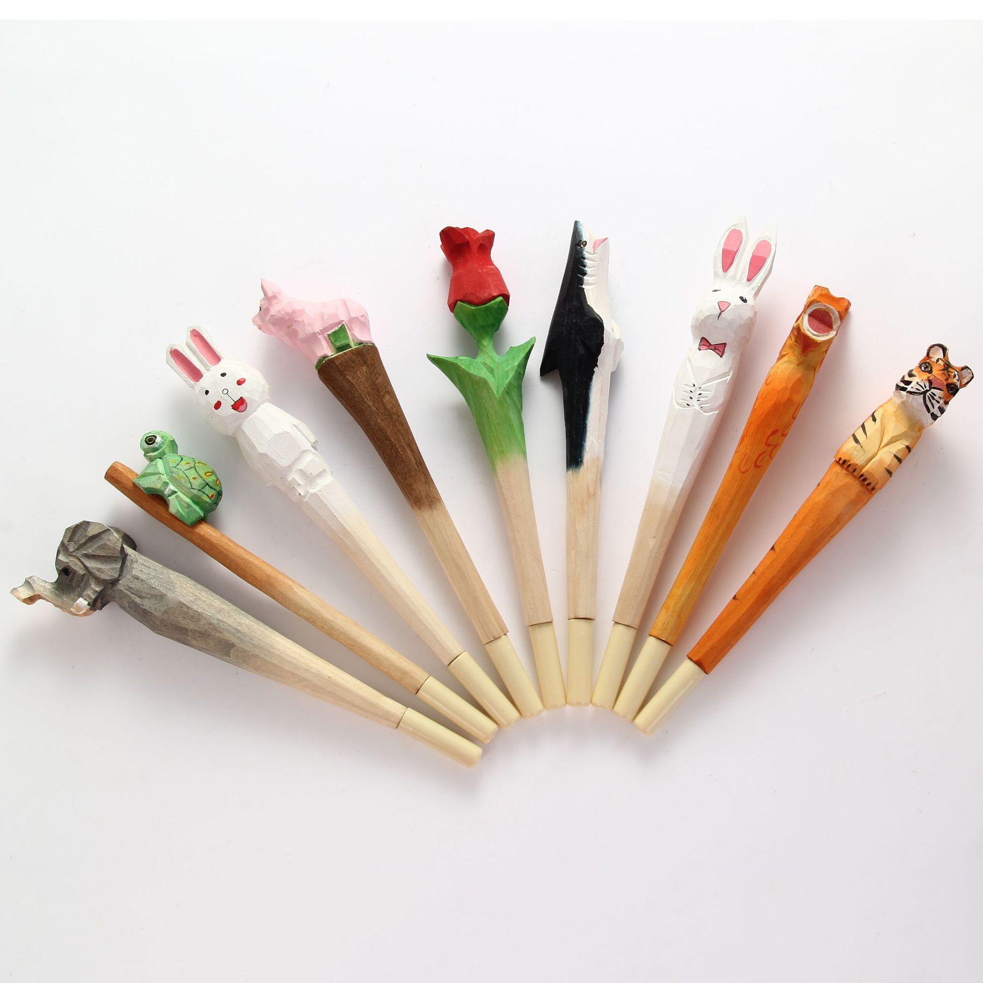 YUSEN Bút nước Gỗ khắc bút động vật dễ thương phim hoạt hình khắc gỗ thủ công bút có thể thay đổi lõ
