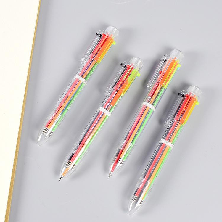 MOKA Bút bi Sáng tạo trong suốt 6 bút bi bút dễ thương sinh viên văn phòng phẩm nhiều màu bút Nippon