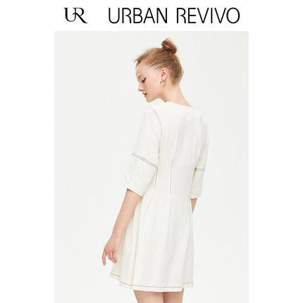 Đầm UR2019 mùa thu mới dành cho nữ xe bình thường nút áo cổ chữ V WH29R7AE2001