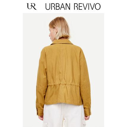 Áo khoác lửng UR2019 mùa thu mới của phụ nữ nhẹ nhàng nấu chín dây rút eo eo cổ áo khoác ngắn YL34S1