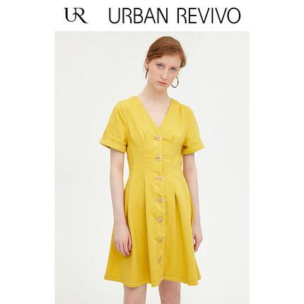 Đầm UR2019 hè mới dành cho phụ nữ giản dị một hàng khóa Đầm denim cổ chữ V WH18SBNF2001