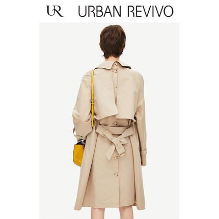 Áo khoác lửng UR2019 khóa trẻ trung mới của phụ nữ với ve áo trong chiếc áo khoác dài YU07S1LN2000