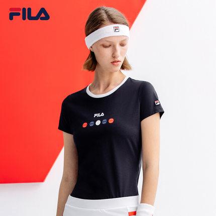 Áo thun FILA FILA Fila Official Women Tay áo ngắn T 2019 Mùa hè Mới Thanh lịch Thể thao Đàn hồi Tay