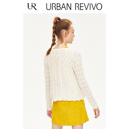 Áo khoác lửng UR2019 mùa thu mới của phụ nữ micro kết cấu openwork cổ áo dệt kim cổ chữ V YL31S9DN20