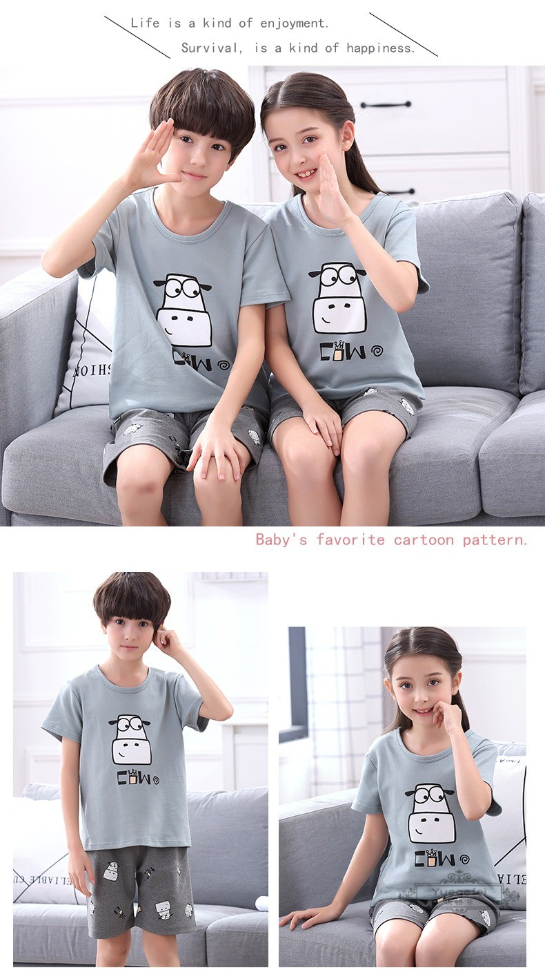 Đồ ngủ trẻ em Yuefei 3 Kids Pajamas Summer Cotton Short Sleeve Slim Boys and Girls Home Clothes Pare
