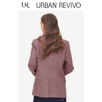 Áo khoác lửng UR2019 phụ nữ mới trẻ trung phù hợp với màu sắc phù hợp với houndstooth ve áo YU02S1LN