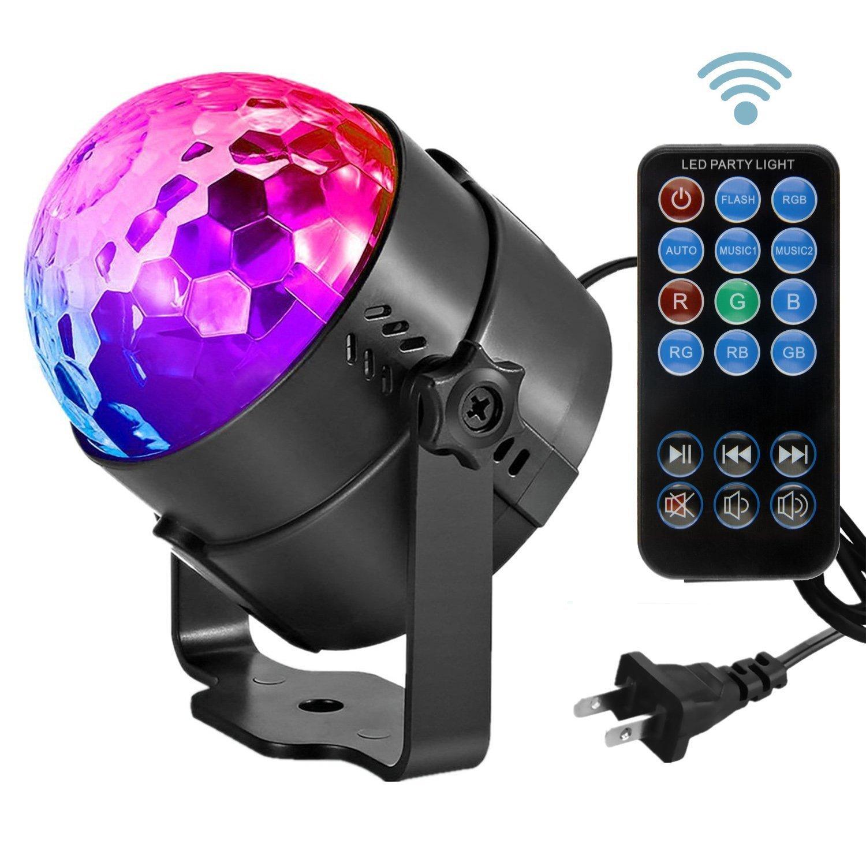 XINCHUANGYUAN Đèn sân khấu Điều khiển từ xa LED pha lê bóng ma thuật Ánh sáng sân khấu RGB Xoay bóng
