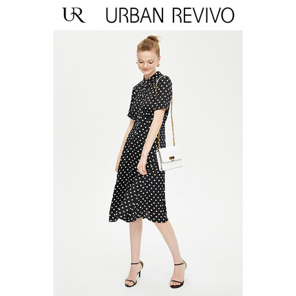 Đầm UR2019 mùa thu mới của phụ nữ quyến rũ màu sắc phù hợp với váy in ve áo WE27R7AF2002