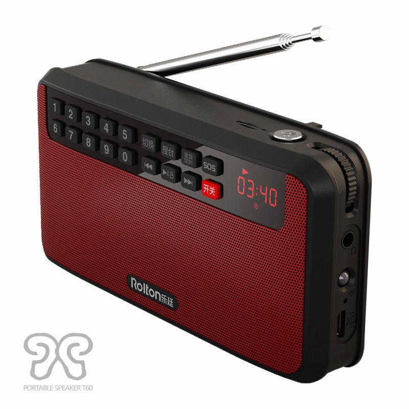 Rolton Máy Radio đài phát thanh T60 MP3 loa di động mini stereo