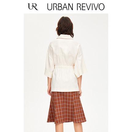 Áo khoác lửng UR2019 mùa thu mới của phụ nữ nhẹ nhàng nấu chín thắt lưng áo dài YU30S1LE2000