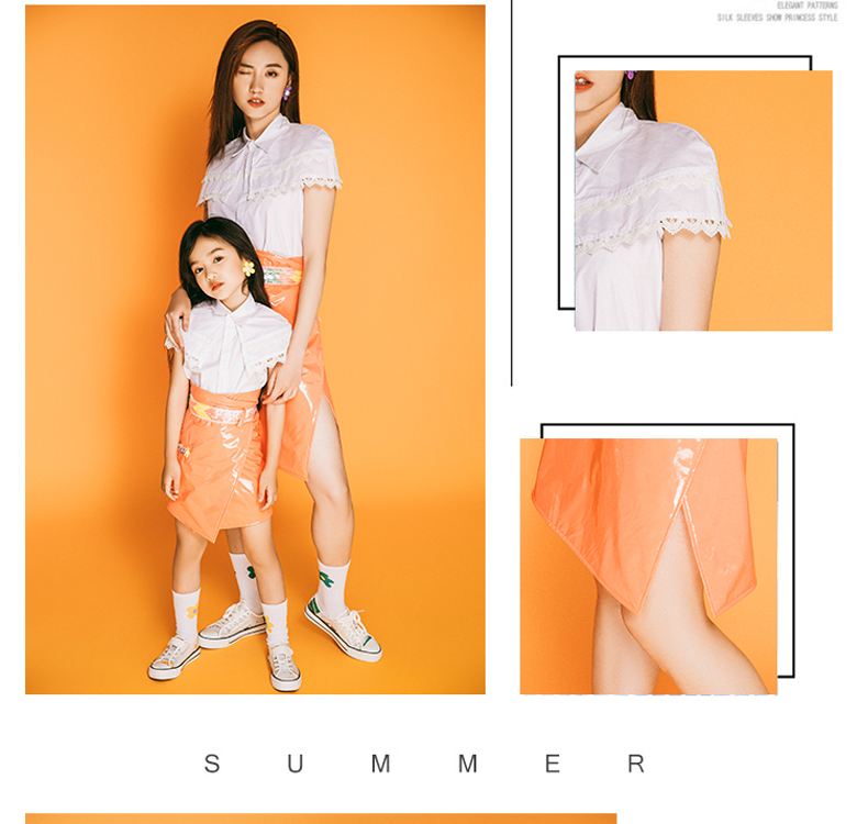 Áo thun gia đình Người mẹ và con gái mặc trang phục màu cam tươi trên s ân khấu T, quần áo ảnh trẻ e