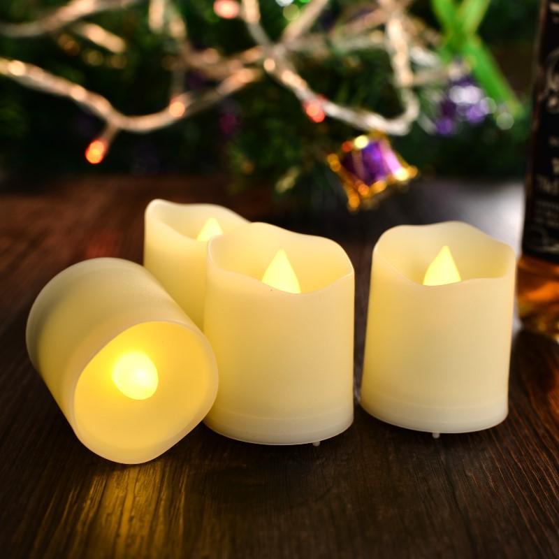 DONGLI Bóng đèn nến LED điện nến ánh sáng điều khiển từ xa trà sáp đèn ấm trắng ánh sáng kỳ nghỉ khô