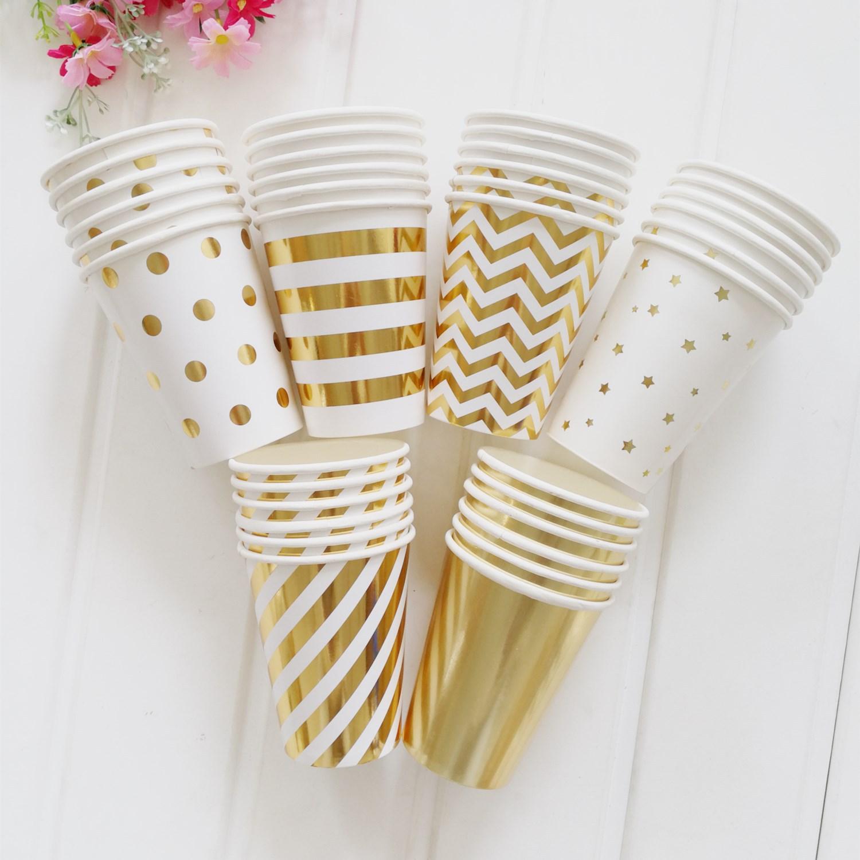 AILE Ly giấy Cốc giấy 270ml mới bronzing 9,5 ang cốc dùng một lần sọc chấm năm cánh sao trang trí br