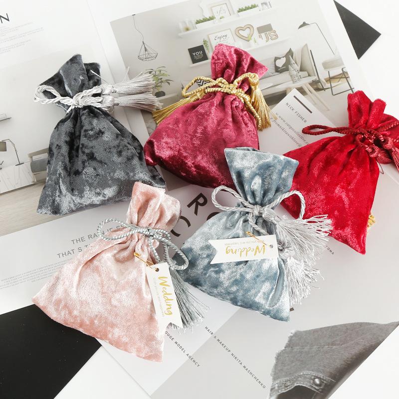 QIANDU Túi đựng trang sức Nhà sản xuất trang sức nhung lưu trữ túi dây rút chùm miệng kẹo nhung túi