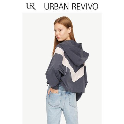 Áo khoác lửng UR2019 mùa thu mới cho giới trẻ thời trang màu sắc kết hợp mũ cổ áo ngắn YV32R1BN2001