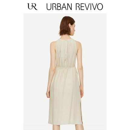 Đầm UR2019 mùa hè mới của phụ nữ giản dị xếp ly vòng cổ không tay WE22S7AE2004
