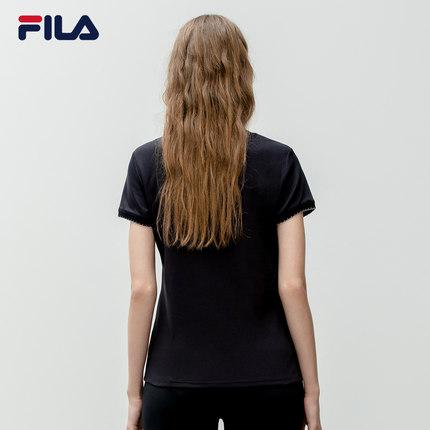 Áo thun FILA Áo thun ngắn tay nữ chính hãng của Fila Fila 2019 Thu mới Áo cotton đan ngắn tay