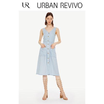 Đầm UR2019 mùa hè mới của phụ nữ khâu túi váy denim cổ chữ V WH20SBNE2002
