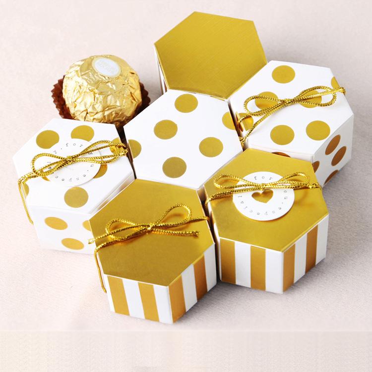 HB hộp quà tiệc cưới Mini nhỏ hình lục giác hộp kẹo Ferrero tại chỗ dập nóng đóng gói dễ thương cart