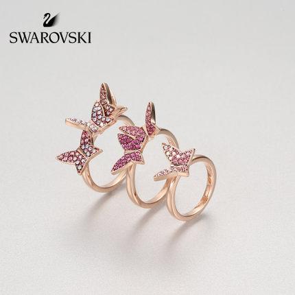 đồ trang trí trang phục Swarovski LILIA Mô hình bướm thời trang Ba vòng xếp chồng Nhẫn nữ