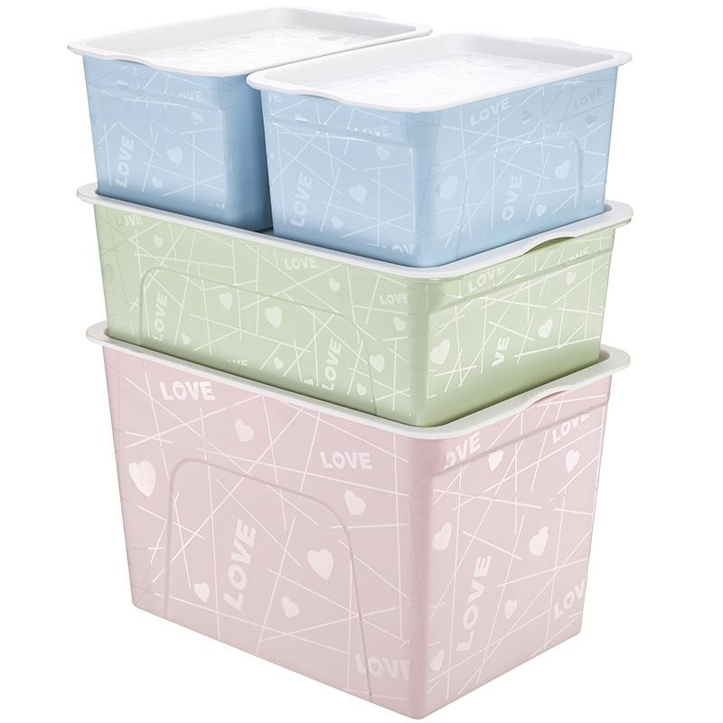 Wozhiwo Thùng nhựa hộp nhựa dày đầy màu sắc bộ 4 hộp lưu trữ đồ ăn nhẹ mỹ phẩm hộp lưu trữ mỹ phẩm