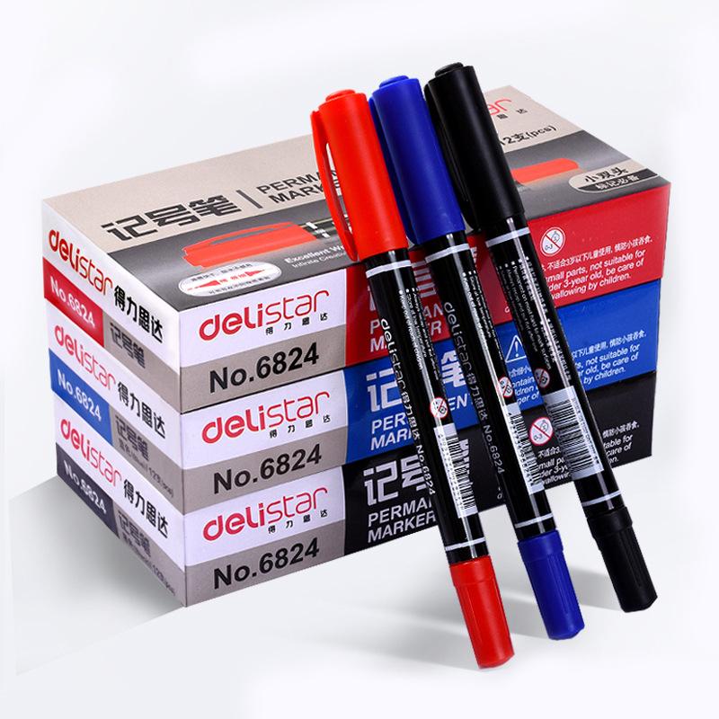 DELI Bút dạ quang Bút đánh dấu nhỏ 6824 bút nhỏ móc đôi bút CD đĩa bút đôi đầu dầu đánh dấu đặc biệt