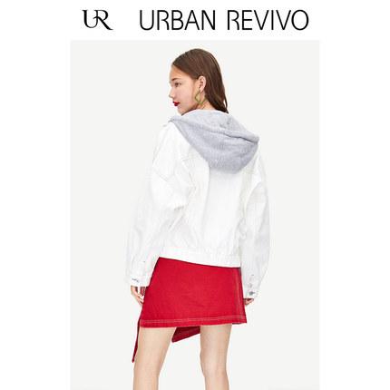 Áo khoác lửng UR2019 mùa thu mới của giới trẻ thời trang nữ khâu cổ áo khoác denim YV31SBJF2002UR201