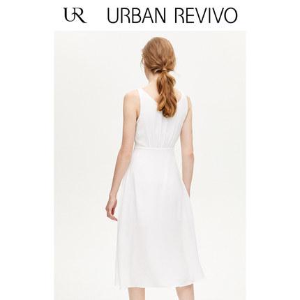 Đầm UR2019 mùa thu mới quần áo nữ làm mới hàng loạt khóa cổ chữ V WE30S7AE2007