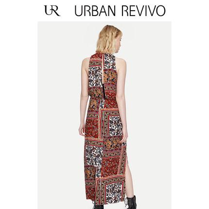 Đầm UR2019 mùa xuân và mùa hè mới của phụ nữ in màu gió quốc gia Kiểu váy chữ A WH13S7AN2002