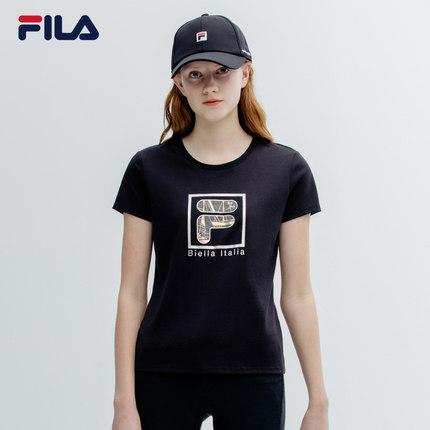 Áo thun FILA Áo thun ngắn tay của phụ nữ Fila Fila chính thức 2019 Mùa hè Mới Logo đan áo sơ mi ngắn