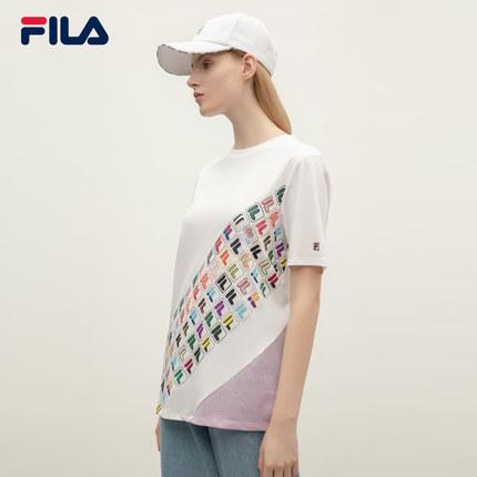 Áo thun FILA Áo thun ngắn tay của phụ nữ Fila Fila cFILA hính thức 2019 mùa hè Mới vừa vặn đan áo sơ