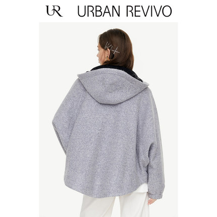 Áo khoác lửng UR2019 mùa thu mới giới trẻ nữ đơn giản dây rút mũ cổ áo dài YV36S1LS2001