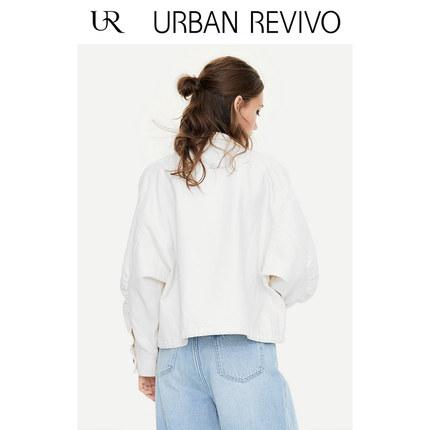 Áo khoác lửng UR2019 mùa thu mới cho giới trẻ áo sơ mi nữ dây rút ngắn giản dị YL34S1BE2000