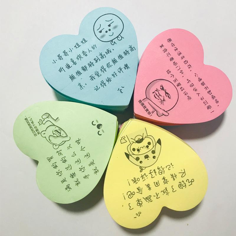 XINYAO Decal tem mạc Nhà sản xuất ghi chú n lần dán màu mới hình trái tim takeaway phục vụ khen ngợi