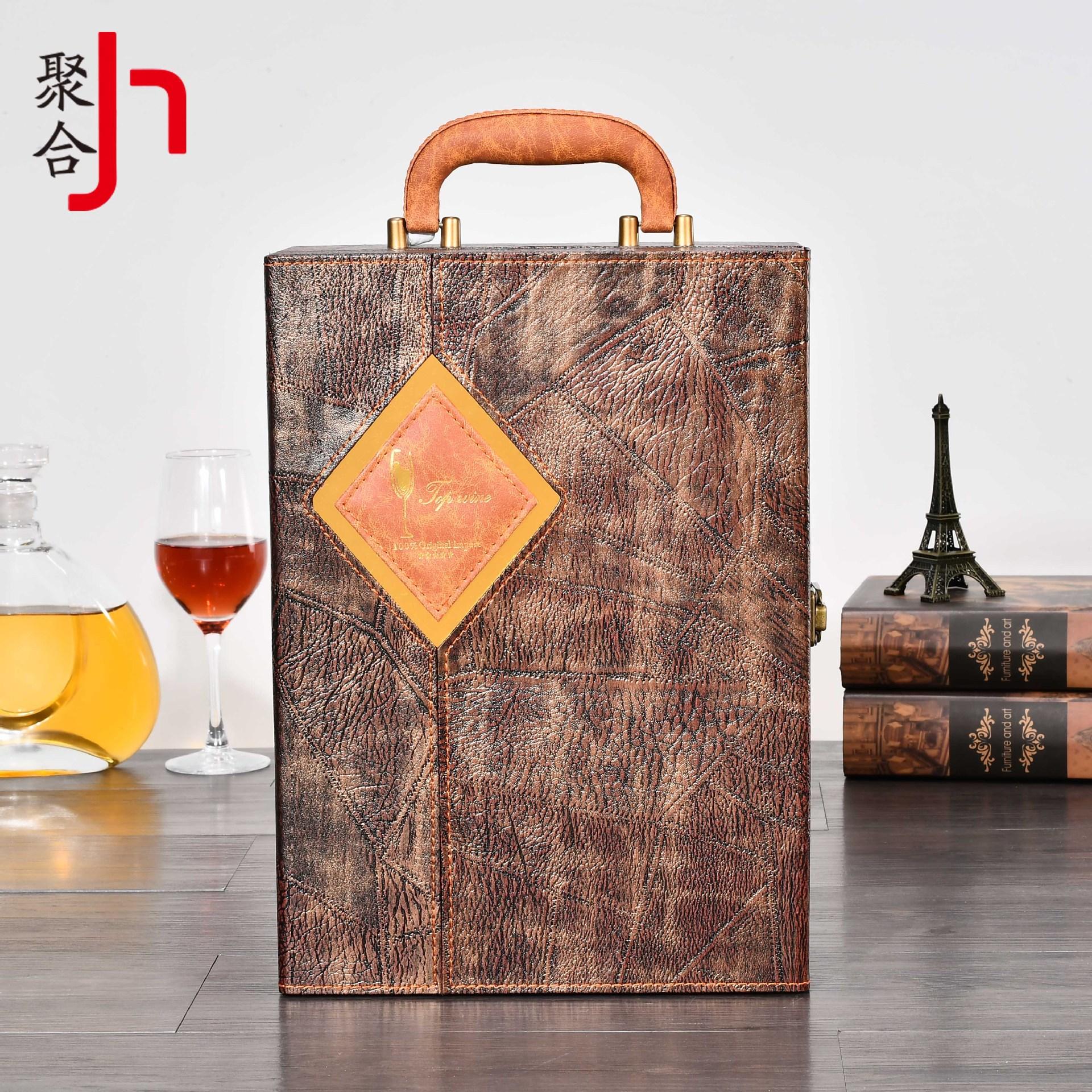 Hộp da Polyme hóa Mới đôi retro mở rộng hộp da rượu vang cao cấp Bao bì rượu vang hộp quà tặng đóng