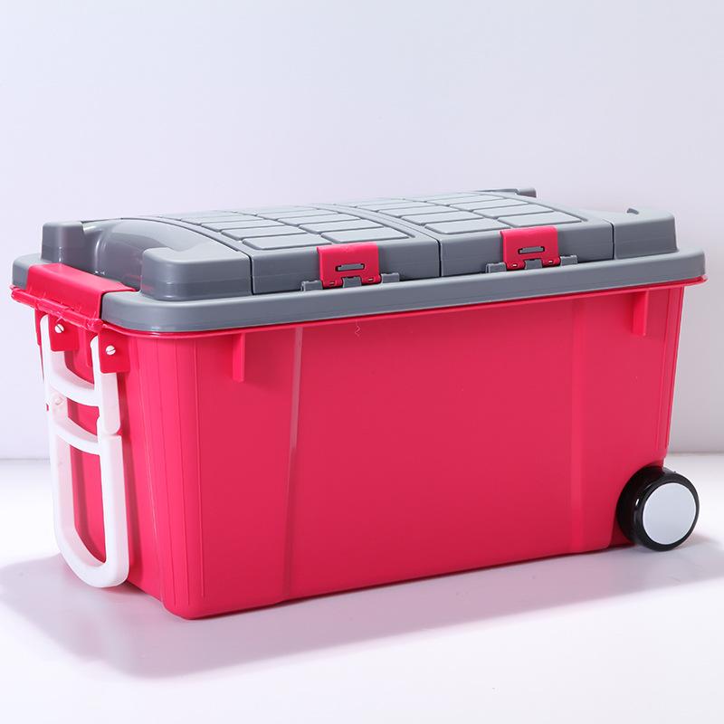 HAICHUAN Thùng nhựa Lớn hộp nhựa cường độ cao làm dày quần áo đơn giản đồ lặt vặt xe đẩy ròng rọc xe