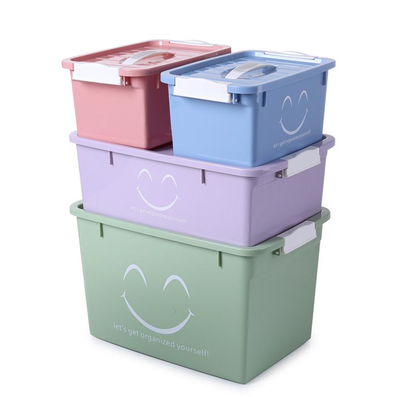 YINXINAGSHU Thùng nhựa Nhà máy trực tiếp hộp nhựa lưu trữ bốn bộ đầy màu sắc với nắp hộp lưu trữ đồ