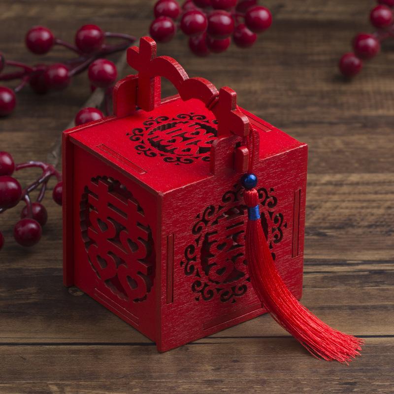 XITONG hộp quà tiệc cưới Hộp kẹo sáng tạo đám cưới Trung Quốc phong cách Trung Quốc bằng gỗ rỗng đám