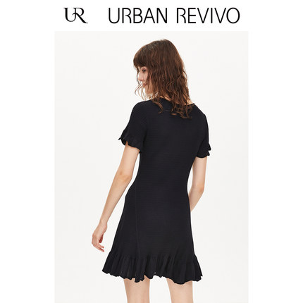 Đầm UR2019 mùa thu mới của phụ nữ khí xù váy V-cổ đan WO34S9FN2000