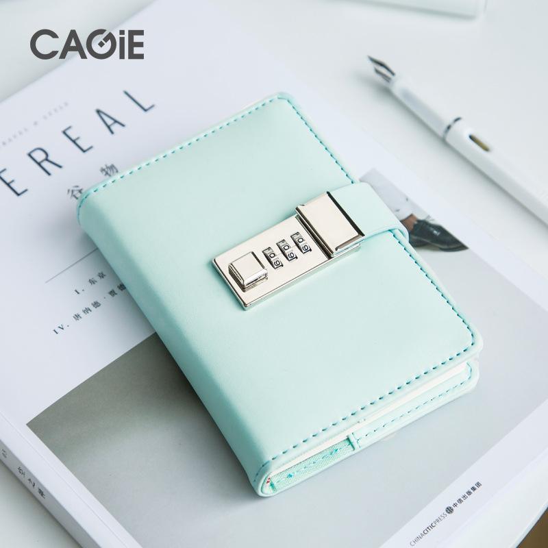 CAGIE Sổ tay Nhật ký di động sáng tạo với khóa nhỏ máy tính xách tay văn phòng phẩm tươi mật khẩu si