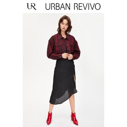 Áo khoác lửng UR2019 mùa thu mới giới trẻ nữ kẻ sọc kẻ sọc áo khoác ngắn YV31S1BN2007